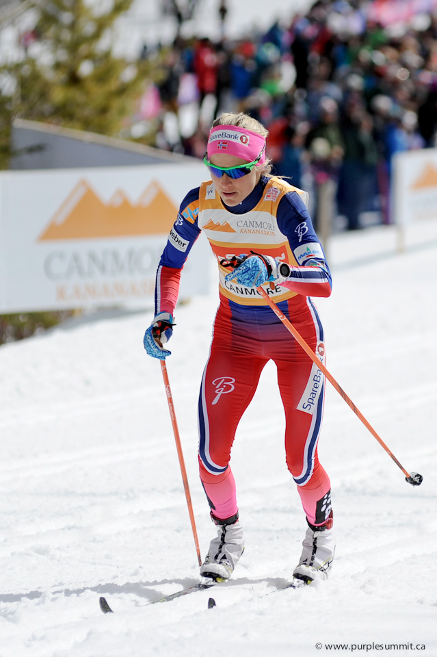 Therese Johaug climbs the first hill on lap 1 of the 10 km ladies classic pursuit at the Canmore Nordic Centre on March 12, 2026
